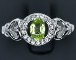 15.16 Crt Natural Peridot 925 Sterling Silver Ring AB