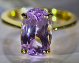 Pink Kunzite 6.40ct Solid 18K Yellow Gold Ring
