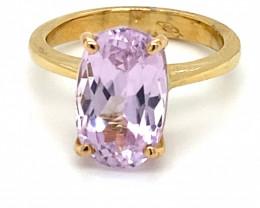 Pink Kunzite 6.40ct Solid 18K Yellow Gold Ring