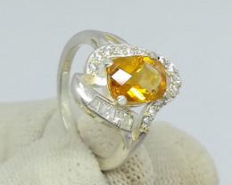 Natural Yellow Citrine 17.90 Carats 925 Silver Ring