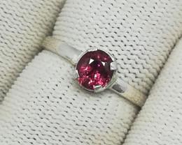 Natural Purple Rhodolite Garnet 6.85 Carats 925 Silver Ring