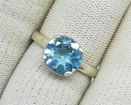Natural Blue Topaz 20.00 Carats 925 Silver Ring