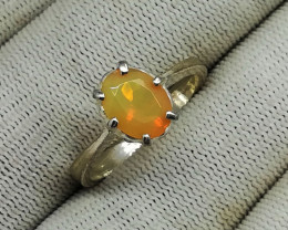 Natural Faceted Fire Opal 14.45 Carats 925 Silver Ring