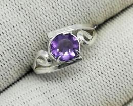 Natural Purple Amethyst 6.25 Carats 925 Silver Ring