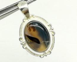 Natural Dendritic (Shajari) Agate 26.60 Carats 925 Silver Pendant