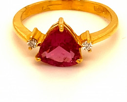 Red Mahenge Spinel 1.71ct Natural Diamonds Solid 22K Yellow Gold Multistone