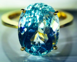 Aquamarine 11.35ct Solid 22K Yellow Gold Ring