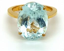 Aquamarine 11.35ct Solid 22K Yellow Gold Ring