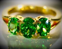 Tsavorite Garnet 2.71ct Solid 22K Yellow Gold Multistone Ring