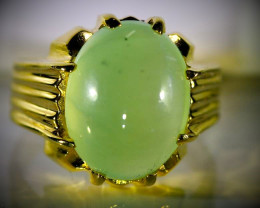 Prehnite 12.07ct Solid 18K Yellow Gold Ring