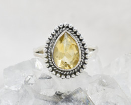 QUARTZ RING 925 STERLING SILVER NATURAL GEMSTONE JR331