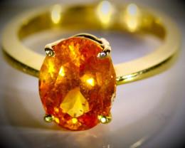Mandarin Spessartine Garnet 4.00ct Solid 22K Yellow Gold Ring