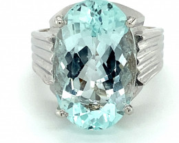Aquamarine 23.80ct Solid 18K White Gold Ring