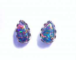 Vibrant Australian Gem Opal and Sterling Silver Earrings (z3230)