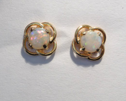 Natural Australian Opal and 10k Gold Earrings (z2276)