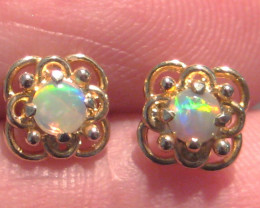 Beautiful solid Australian Opal and 10k Gold Earrings (z2281)