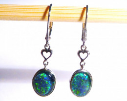 Quality Australian Gem Opal and Sterling Silver Earrings (z3382)