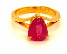 Burmese Ruby 3.38ct Solid 22K Yellow Gold Solitaire Ring