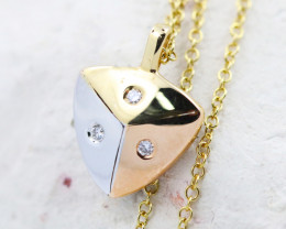 18K Three Color Gold Diamond Necklace - H147 - N11899