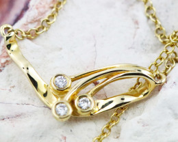 18K Yellow Gold Diamond Necklace - H151 - N11602