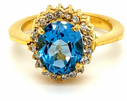 Blue Topaz 3.03ct Natural Diamonds Solid 18K Yellow Gold Cocktail Ring