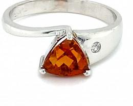 Spessartine 1.46ct Diamond Solid 18K White Gold Multistone Ring