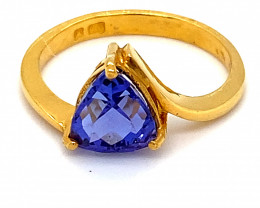 Tanzanite 2.58ct Solid 22K Yellow Gold Ring