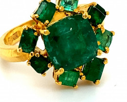 Emerald 5.55ct Solid 22K Yellow Gold Multistone Ring