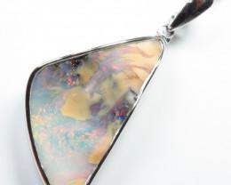 27.80ct Boulder Opal Free form Silver Pendant