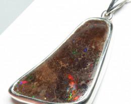 55ct Boulder Opal Free form  Silver Pendant