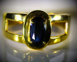 Royal Blue Sapphire 1.38ct Solid 21K Yellow Gold Ring