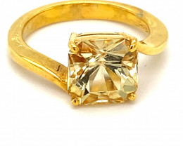Yellow Scapolite 3.50ct Solid 18K Yellow Gold Ring