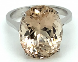 Imperial Topaz 11.70ct Solid 18K White Gold Ring
