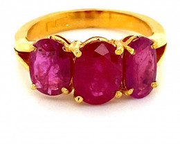Tajikistan Ruby 4.67ct Solid 22K Yellow Gold Multistone Ring