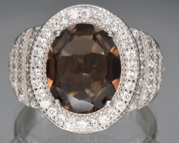 Natural Smoky Quartz, CZ and 925 Silver Ring