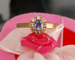 21k gold diamond and sapphire Ring.