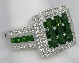 Chrome Diopside And Zircon Ring 3.06 TCW