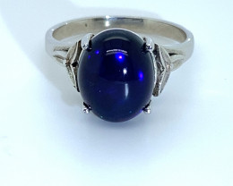 Blue Opal 4.36ct Platinum Finish Solid 925 Sterling Silver Ring