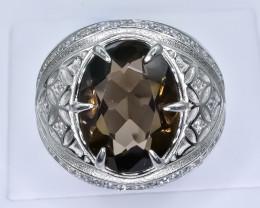 50.66 Crt Natural Smoky Quartz 925 Silver Ring ( RK 01 )