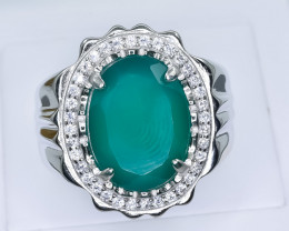 67.34 Crt Natural Green Agate 925 Silver Ring ( RK 01 )