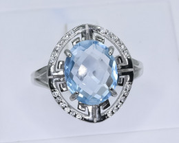 23.70 Crt Natural  Topaz 925 Silver Ring ( RK 01 )