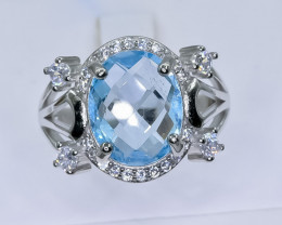 22.63 Crt Natural Topaz 925 Silver Ring ( RK 01 )