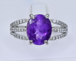 21.99 Crt Natural Amethyst925 Silver Ring ( RK 01 )