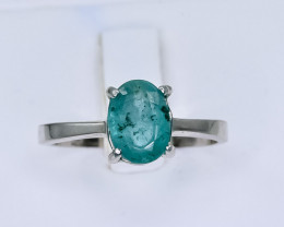 9.78 Crt Natural Emerald 925 Silver Ring ( RK 01 )