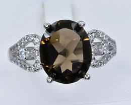 21.35 Crt Natural Smoky Quartz 925 Silver Ring ( RK 01 )