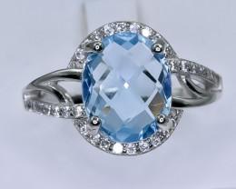 20.67 Crt Natural Topaz 925 Silver Ring ( RK 01 )