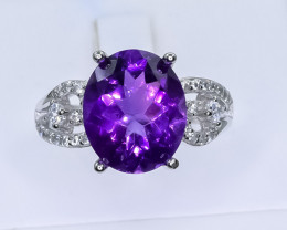 21.07 Crt Natural Amethyst 925 Silver Ring ( RK 01 )