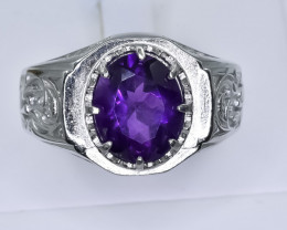 46.60 Crt Natural  Amethyst 925 Silver Ring ( RK 01 )