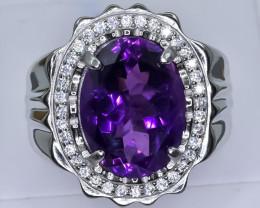 68.41 Crt Natural Amethyst 925 Silver Ring ( RK 01 )