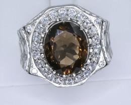 52.87 Crt Natural Smoky Quartz 925 Silver Ring ( RK 01 )
